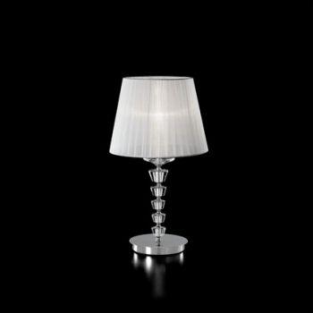 lume da camera cristalli : lampada da comodino o da tavolo in metallo cromato con